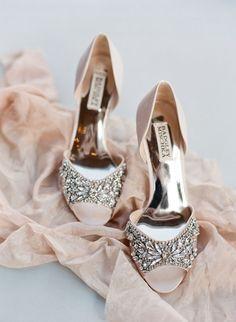 Blush Badgley Mischka embellished heels: http://www.stylemepretty.com/new-york-weddings/glen-spey/2017/01/23/this-hudson-valley-wedding-had-us-at-engagement-ring/ Photography: Elena Wolfe - http://elenawolfe.com/