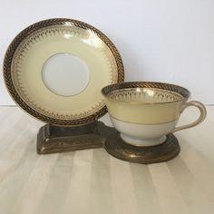 Noritake Goldbeam Cup & Saucer Vintage Gold Laurel in Black Band  #Noritake