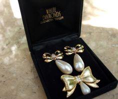 White Diamond earrings brooch vintage Jewellery Set Elizabeth Taylor | Jewels & Finery UK
