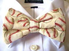 BASEBALL  Whimsical Bow Tie ClipOn Boyfriend by MapleStreetMarket, $24.50