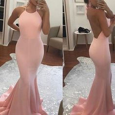 2017 halter mermaid long prom dress with open back
