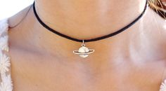 Saturn Charm Choker by Vivamacity on Etsy