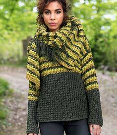 джемпер и шарф крупной вязки