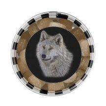 White Arctic Wolf Portrait on Black Chewing Gum Favors