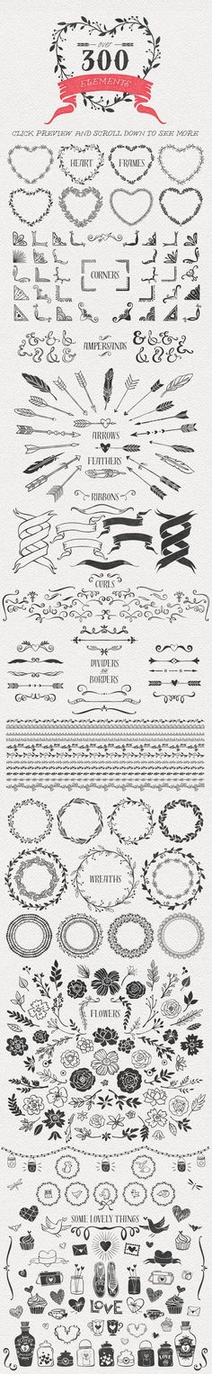 Hand Drawn Romantic Decoration Pack by kite-kit on Creative Market: