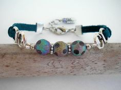 Beaded Leather Bracelet with Glass Beads by Stylized Designs, $21.00