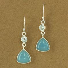 Sterling Silver Blue Topaz & Blue Chalcedony Triangle Dangle Earrings - Fire & Ice