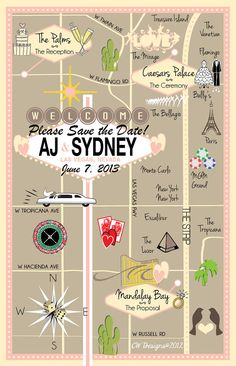 Las Vegas Wedding Save the Date Map!