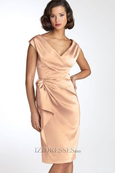 Sheath/Column V-neck Satin Mother Of The Bride Dresses - IZIDRESS.com