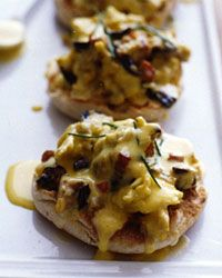 Bacon, Cheese, and Scrambled Egg Sandwiches with Hollandaise