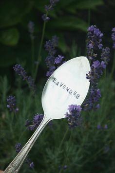 Vintage Silverware Garden Marker Lavender silver plated flatware Garden Marker flower markers