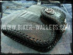 """Sherlock Black"" 4"" Custom Handmade Ostrich Skin and Leather Biker Wallet"
