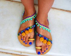 50% OFF Colorful Sandals / Pom Pom Sandals / by SeaSunAndSandals