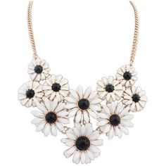 Amazon.com: ZMJ Flower Fashion Necklace Black Cluster Statement... ($18) ❤ liked on Polyvore featuring jewelry, necklaces, pendant necklace, statement pendant necklace, bib statement necklace, flower necklace and cluster jewelry