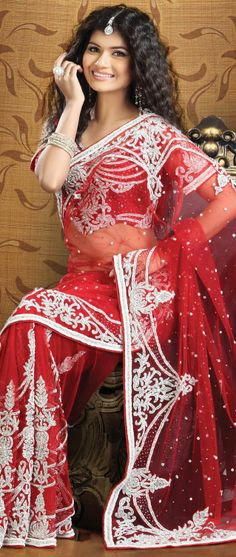 #Red Net #Saree With Blouse  Itemcode: SSK5006  Price: $763.26  #Shop Now @ http://www.utsavfashion.com/saree/red-net-saree-with-blouse/ssk5006-itemcode