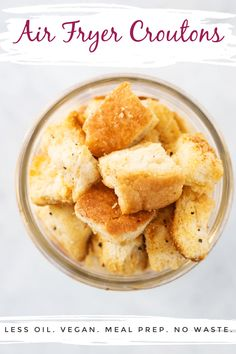 Homemade croutons are one of the easiest things to make at home, and making homemade air fryer croutons makes them that little bit quicker and healthier as you can use less oil, win! For these basic croutons, I like to keep the flavor pretty simple so they can be paired with most flavor profiles, but feel free to switch it up for the flavors you love! The perfect way to use up leftover bread and make sure you aren't wasting food. Whole Food Recipes, Snack Recipes, Salad Recipes, My Favorite Food, Favorite Recipes, Homemade Croutons, Air Fried Food, Air Fryer Healthy, Whole Food Diet