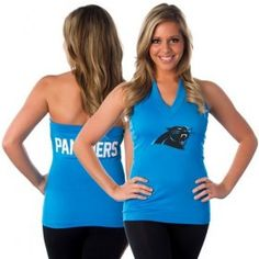 0de83d455 All Sport Couture Carolina Panthers Women's Blown Cover Halter Top - Panther  Panthers Game, Monday