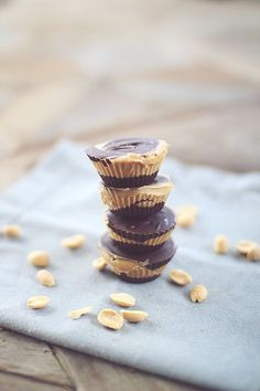 Skinny Peanut Butter Cups - (a little different from others I've seen, such as using Greek yogurt in the chocolate layer) - 1.5g net carbs per mini cup
