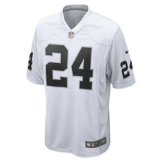 Nike NFL Oakland Raiders (Marshawn Lynch) Men's Football Away Game Jersey Size Medium (White)