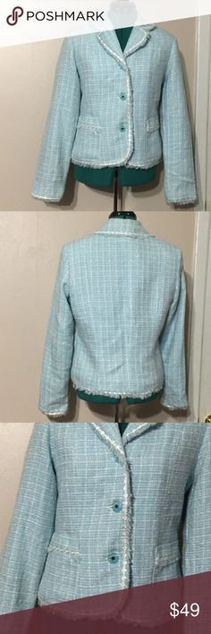 CHADWICK....light blue/ Spa color Blazers Excellent condition, like new. Texture and the design are beautiful. Beautiful Light blue color with light blue lining. It has two pockets on the front with beautiful design as you see in the pictures. High quality fabric. Light blue buttons for closure. Fabric detail in the picture. Chadwicks Jackets & Coats Blazers