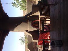 Outdoor kiva fireplace