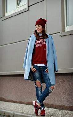 To keep a sweatshirt, sneakers and ripped denim from feeling like house cleaning clothes, stick to a cohesive color scheme.