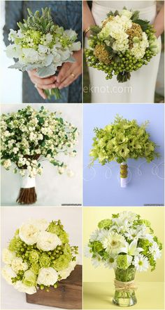 Green bouquets for apple themed weddings