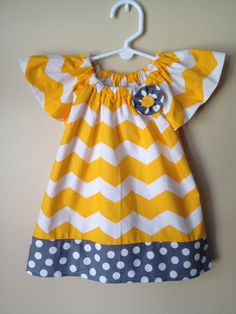 Baby Girl Yellow Chevron and Gray Polkadot by Emoryscloset