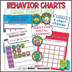 Student and class behavior incentive charts are a great way to help students manage their goals, redirect or direct certain behaviors, and work towards a reward or incentive. This resource is created to be used for distance and digital learning learning. #thethinktank #teacherspayteachers #digitslbehaviorcharts #classincentivecharts #distancelearningbehaviorchart #digtialstudentbehaviorcharts
