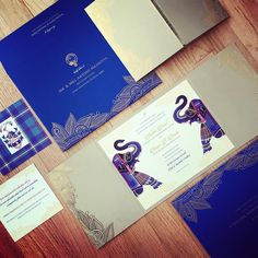 """12 Likes, 4 Comments - Azure Couture Stationery (@atelierazure) on Instagram: """"Hot off the press - a great combination! Indian & Scottish cross cultural wedding invitation by…"""""""