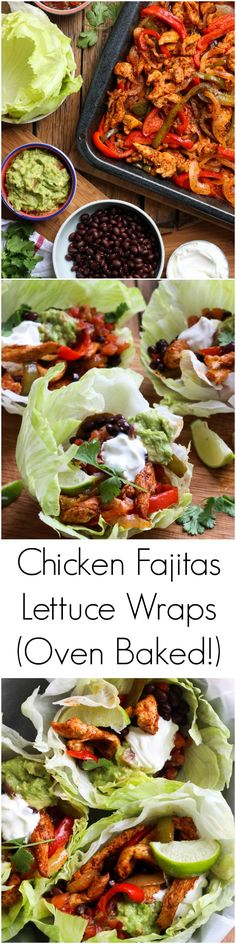 """With one little trick and you have the most juiciest oven baked chicken fajitas! Served in a lettuce wrap for a healthy dinner Baked Chicken Fajitas, Baked Chicken Breast, Chicken Wraps, Lettuce Wrap Recipes, Lettuce Wraps, Chapati, Mexican Food Recipes, Dinner Recipes, Restaurant Recipes"