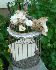 Rustic Birdcage Card Holder - Wedding Birdcage - Rustic Wedding