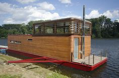 In this case, favorite House-Boats: Thesayboat Modern Houseboat. Designed and owned by Marek Ridky of Flowhouse in the Czech Republic, the houseboat's design was created as a home with views of the stars.    Read more at Design Milk: http://design-milk.com/thesayboat-modern-houseboat/#ixzz2BXqMmRLD