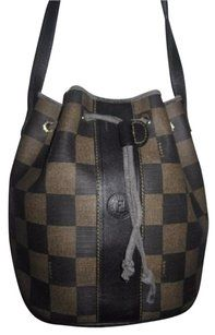be68b5c0fbe3 Fendi Mint Vintage Popular Style Drawstring Top Bucket Restored By Expert  Satchel in checkerboard print canvas   leather in shades of brown