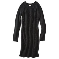 Mossimo Supply Co. Juniors Long Sleeve Cable Knit Sweater Dress - Black, Grey or Purple $29.99