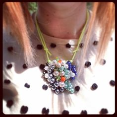 Pearl and neon beaded necklace. Nearly finished!