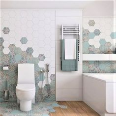 The Good Vibes was created by French designer Pascale Turbe and was inspired by her many trips across the world! We're obsessed with this creative bathroom design by Design by Tolsh which showcases the lovely colours and whimsical personality of the collection perfectly 💕 Bathroom Gallery, Hexagon Tiles, Whimsical, Trips, Personality, Colours, French, Inspired, Creative
