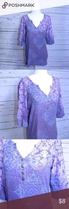"Purple Yoga Shirt Hippie Shirt Med ribbed material Gently Used - Good Condition - No defects  Comfy, ribbed material with a lot of stretch.  It has a cool yoga/hippie pattern.  Size - Medium  17"" Across Bust / 27"" Total Length Style & Co Tops Tees - Short Sleeve"