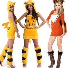 Sexy Women Fox Pikachu Fancy Dress Costume Party Furry Tail Ear Cosplay Outwear #NA #CompleteCostume #partyclub