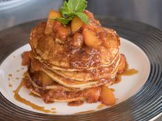 """Lemon Ricotta Pancakes with Brown Butter Stone Fruit Compote and Amaretto Syrup (Cali Brunch) - Eric Greenspan, """"GGG"""" Judge & Chef/Restaurateur, Guest on """"Guy's Ranch Kitchen"""" on the Food Network. What's For Breakfast, Breakfast Dishes, Breakfast Recipes, Breakfast Pancakes, Fun Cooking, Cooking Recipes, Cooking Pork, Cat Recipes, Kitchen Recipes"""