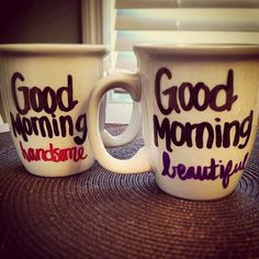 His and hers coffee mugs on Etsy, $12.00