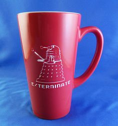 Large Red Engraved Doctor Who Dalek Coffee Mug -  Exterminate! Don't let the Daleks get you! Our favorite Dr. Who villain has inspired our latest creation for all of the Whovians out there in cyberland, this mug has a full 16oz capacity and with personalization, will set your cup apart from all the others in the office. $11.99