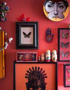 Matthew Williamson's home features in this month's Living Etc magazine with a full article entitled 'bohemian rhapsody'. This red wall is covered in framed butterflies, Russian dolls, flowers and souvenirs, creating an exciting space in Matthew's home. Click to read more.
