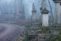 hauntingly beautiful London's Bow  Cemetery at dawn