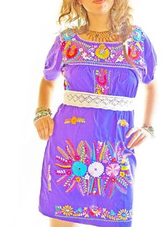 Mexican Amor Embroidered Mini Dress Colorful Vintage Embroidered Hippie Chic Boho Dress Folk