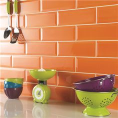Orange with the occasional blue subway tile or vise versa