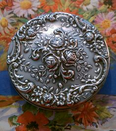 Vintage Compact Gorham Deco Roses Compact Sterling 325 Silver 1930's. $300.00, via Etsy.