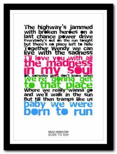 BRUCE SPRINGSTEEN - Born To Run - lyric poster typography art print - 4 sizes | eBay