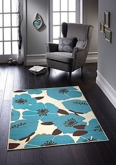 HEAT SET LIGHT WEIGHT PORTIA FLORAL PRINT RUG TEAL/CREAM FLAT WEAVE                      – Solitaire Rugs Co