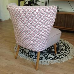 Restored in a pretty powder pink velvet Cocktail Chair Cocktail Chair, Powder Pink, Pink Velvet, D1, Upcycle, Accent Chairs, Restoration, Mid Century, Pretty